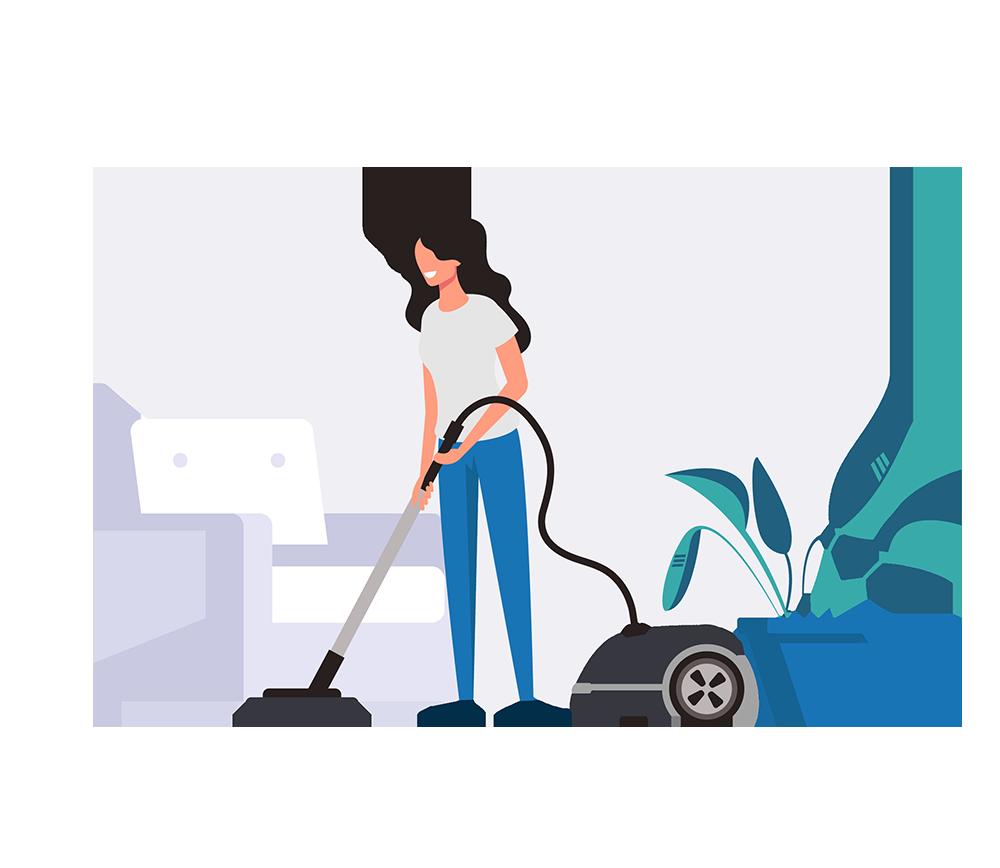 Frau saugt die Wohnung