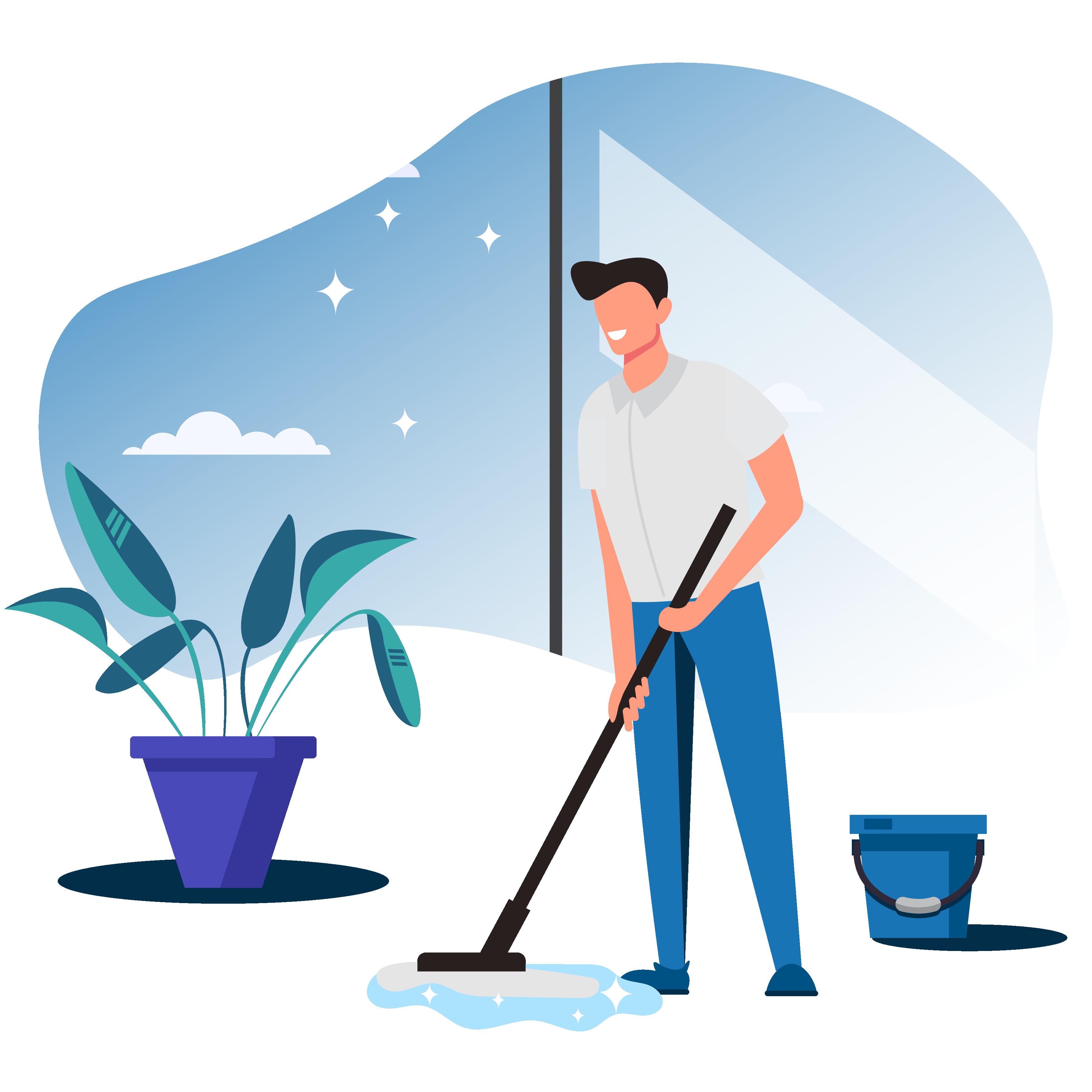 Mann mit Wischmob reinigt die Wohnung